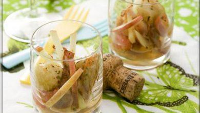 Photo de Verrine de Saint-Jacques – Lard Fumé et Pomme Verte – Sauce Gingembre