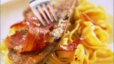 Photo de Petites Tranches de Foie de Veau Poêlées au Bacon et Pâtes Fraîches