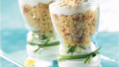Photo de Salade de Boulgour Gourmand au Concombre sur Lit de Fromage Blanc