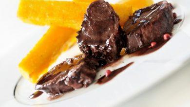 Photo de Sanglier Sauce Vin Rouge et Myrtilles Sauvages, Frites de Polenta