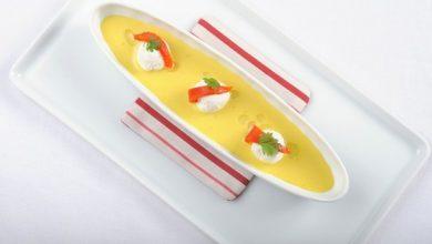 Photo de Crème de Maïs au Curcuma, Bille de Ricotta et Poivron Doux