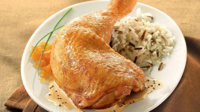 Photo de Cuisse de poulet sauce moutarde, riz parfumé et sa compotée d'abricots