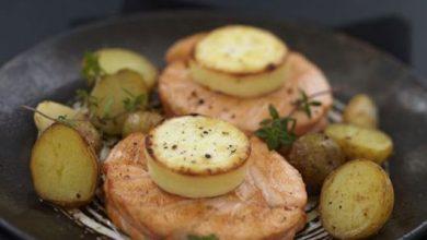 Photo de Noisette de Saumon écossais Label Rouge au chèvre et pommes grenaille