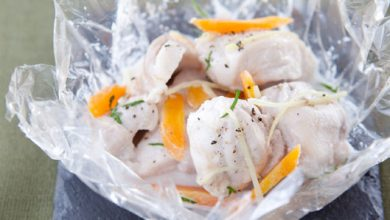 Photo de Papillote de cuisse de lapin NA® coco, gingembre et coriandre fraîche
