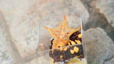 Photo de Riz au lait « Grande Saveur » en Duo de Riso Gallo, fruits rôtis au jus de yuko et carambole