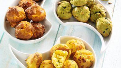 Photo de Gougères aux légumes verts et aux pignons, Gougères tomate à la mimolette et Gougères curry à la feta et au romarin