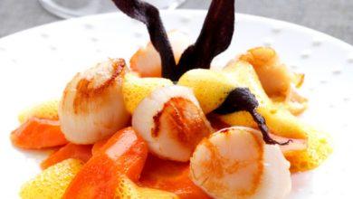 Photo de Assortiment de carottes glacées, écume de carotte au gingembre, et sa poêlée de noix de Saint-Jacques