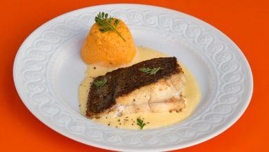 Photo de Barbue rôtie, flan de carottes et sabayon au Sauternes