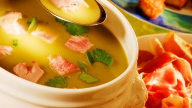 Photo de Crème de Lentilles Vertes du Puy agrémenté de Dés de jambon à l'os de porc de montagne