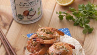 Photo de Brochettes de crevettes au gingembre, au citron et à l'Huile de Noix de Coco Bio La Tourangelle
