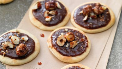 Photo de Pizzettes chocolat et noisettes caramélisées