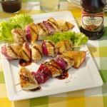 Brochettes de poulet et pommes grillées
