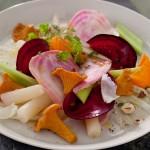 Légumes oubliés sur fine salade de fenouil, vinaigrette aux girolles