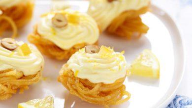 Photo de Nids de Linguine croustillantes à la crème de citron