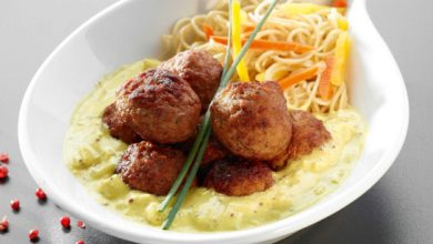 Photo de Boulettes gourmandes, sauce oignons, moutarde et curry