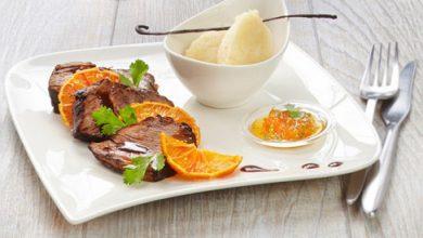 Photo de Paleron de bœuf mijoté au jus de sangria, mousseline de céleri-rave à la vanille