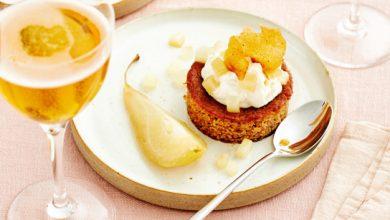 Photo de Poire pochée au cidre Poiré et son moelleux à la crème de marrons