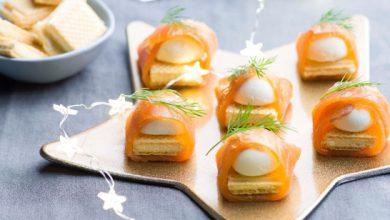 Photo de Bouchées de gaufrettes festives au saumon
