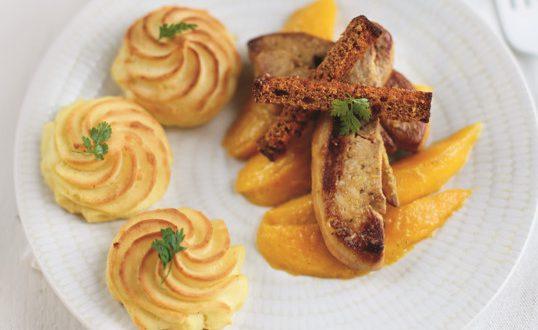 d lices de pur e mccain escalopes de foie gras po l mangue r tie la vanille a vos. Black Bedroom Furniture Sets. Home Design Ideas