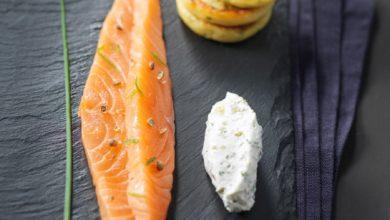 Photo de Gravelax de saumon aux agrumes, sauce St Môret® à l'aneth et blinis de pommes de terre