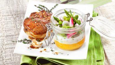 Photo de Agneau de lait rôti, printanière de légumes à la crème d'ail et son biscuit à la carotte