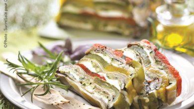 Photo de Terrine de pressé de légumes d'été grillés, mozzarella et huile d'olive BIO Cauvin