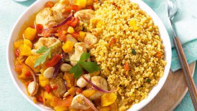 Photo de Tajine de poulet aux abricots secs et petits légumes et Couscous du Soleil Tipiak