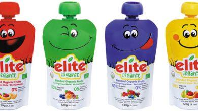 Photo de Découvrez les délicieuses purées de fruits bio Elite Organic dans des gourdes rigolotes