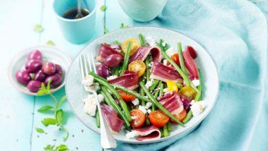 Photo de Salade de haricots verts, feta et magret de canard fumé au bois de hêtre Montfort
