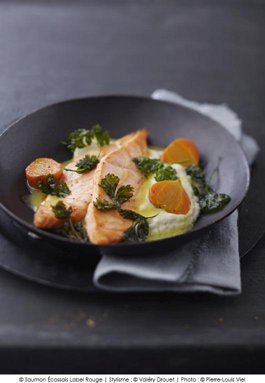 saumon cossais label rouge et pur e de chou fleur au wasabi coriandre frite a vos assiettes. Black Bedroom Furniture Sets. Home Design Ideas