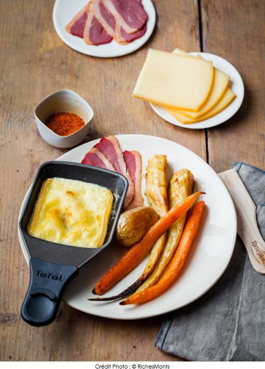 raclette-gourmande-aux-legumes-rotis-au-miel-et-magret-de-canard