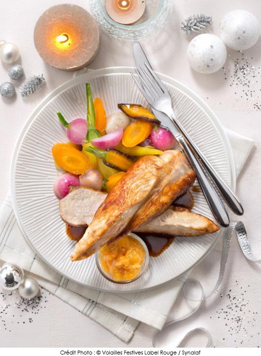 supremes-de-chapon-fermier-label-rouge-chutney-de-mangue-petits-legumes-glaces