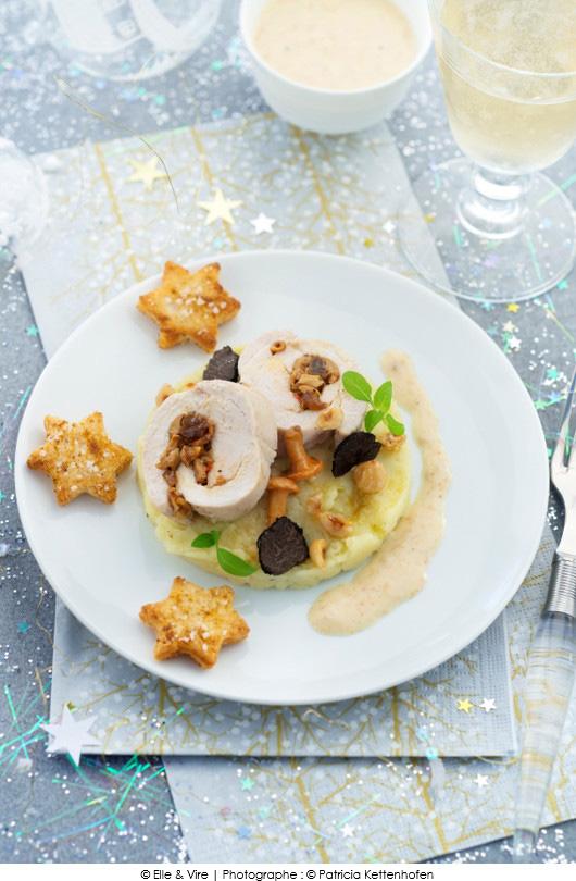 roulade-de-dinde-champignons-et-creme-champignons-aux-truffes