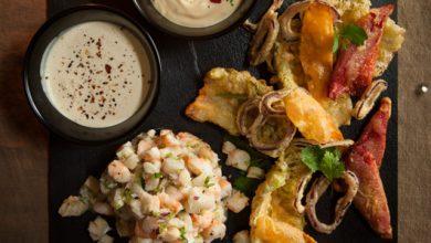 Photo de Tartare de crevettes et cabillaud tempura de légumes