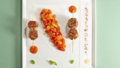 Photo de Brochettes d'agneau et poivrons cuisinés au piment d'Espelette