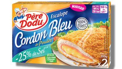 Photo de Les fameuses escalopes cordons bleus de poulet Père Dodu® sont désormais disponibles avec 25% de sel en moins