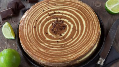 Photo de Cheesecake zébré au Chocolat Dégustation Noir Citron Vert