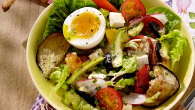 Photo de Fraîcheur d'aubergines grillées feta et œuf mollet
