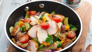 Photo de Poêlée de légumes d'été et suprême de poulet grillé