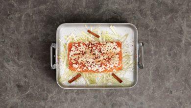 Photo de Saumon de Norvège au four aux amandes, à la cannelle et au fenouil