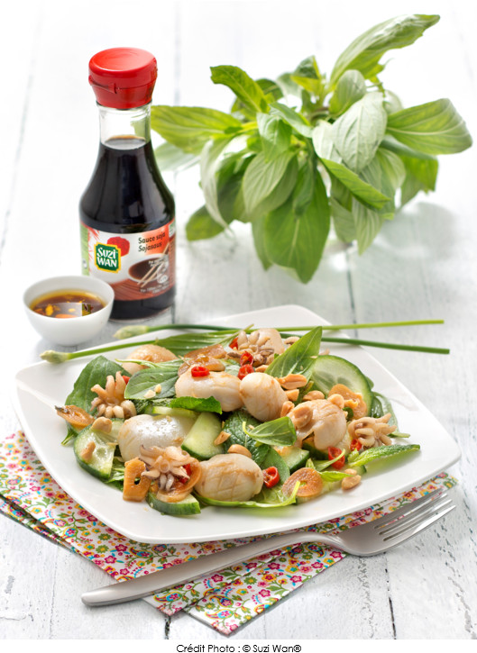 Salade calamars grill s sauce soja et basilic tha a vos assiettes recettes de cuisine - Recette calamar grille barbecue ...