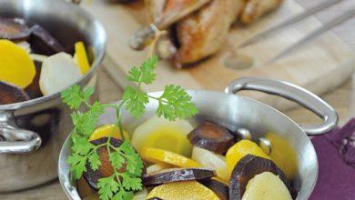 Photo de Cocotte de légumes anciens glacés au miel et cailles rôties
