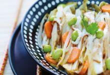 Photo de Wok d'endives, haricots mungo, shiitakés, sauce soja