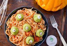 Photo de Yeux de monstres sur spaghetti ensanglantées