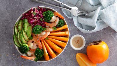 Photo de Bowl quinoa, lentilles corail, aux crevettes et Kaki Persimon®