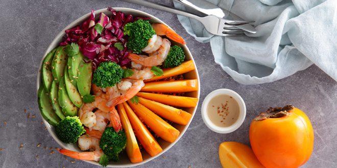 Bowl quinoa, lentilles corail, aux crevettes et Kaki Persimon®