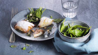 Photo de Pastilla au Carré Frais®, poire, épinards crus en salade
