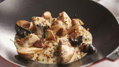 Photo de Blanquette de ris de veau au cidre, champignons et grattons à l'estragon