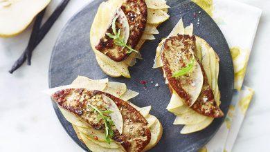 Photo de Tartine de foie gras, poire, vanille