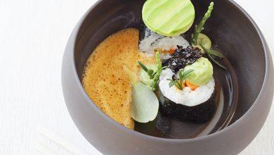 Photo de Sushi Maki à la carotte marinée et sauce dip